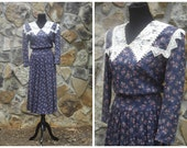 80s Prairie Dress Boho Floral Festival Dress by Scott McClintock with Large Ornate Lace Bib Collar Sz S (6)