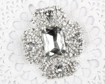 55 x 63 mm Large Crystal Clear/ Blue Rhinestone Wedding Silver Wedding Brooch DIY Wedding Brooch Bouquet Lot Gift Embellishment