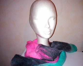 wool scarf felted so your blue Cobweb / Rose