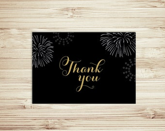 Black and Gold - Fireworks - Thank You Card - Instant Download