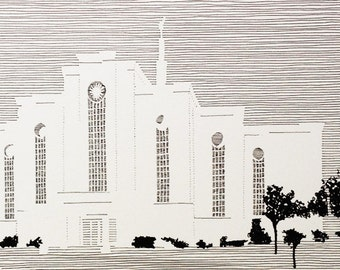 ALBUQUERQUE New Mexico LDS Temple (Original Drawing) Modern Ink Lines