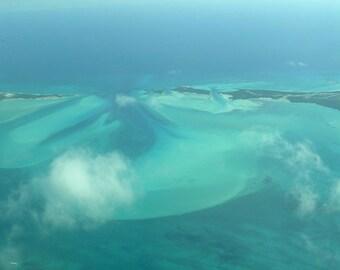 Photography, Bahamas Aerial View 5193, Fine Art Print, Home Decor, 5x7, 8x10, 11x14, Wall Art, Blue, Green, Islands, Sea, Fine Art Print
