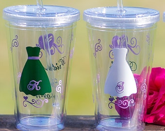 Bridesmaids tumblers, Bride tumbler, Junior Bridesmaid gift/Flower Girl,Tumblers with lid, Dark Green, Lilac silver grey.Priced individually