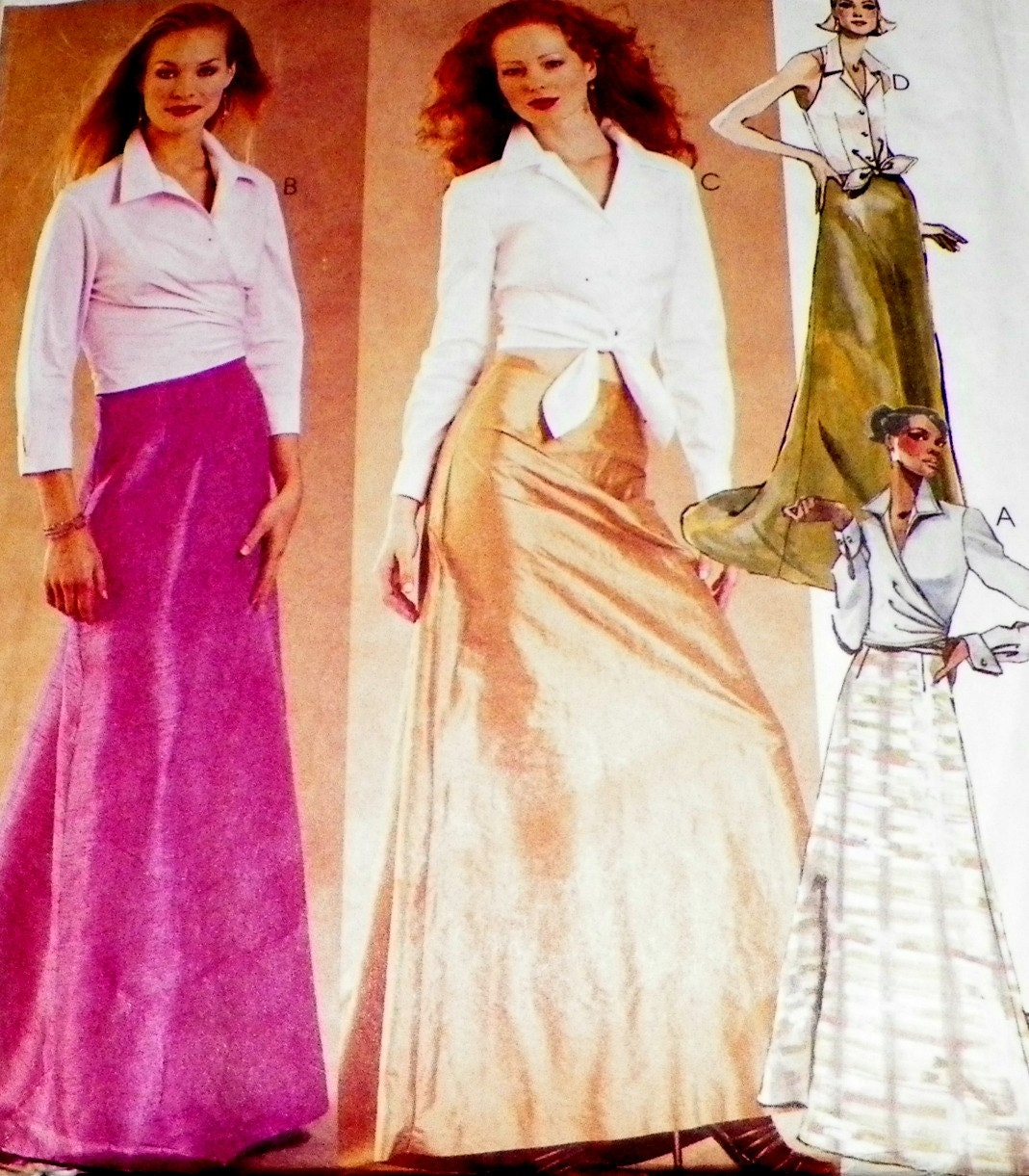 sewing pattern maxi skirt and blouse shirt by
