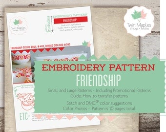 PYREX Embroidery Patterns (24 individual patterns) - Friendship / Rooster / Penn Dutch / Red Birds / Vintage Pyrex Inspired