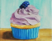 "Black berry cupcake- original oil painting on 6""X6"" canvas"