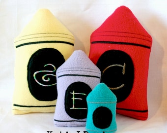 ITH Crayon Stuffie Machine Embroidery Design Pattern Download 3 sizes In The Hoop Stuffie Back to School