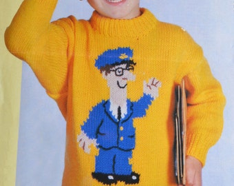 PDF kids postman pat jumper sweater vintage knitting pattern pdf INSTANT download pattern only 22 24 26 28 inches