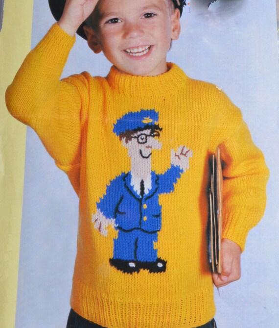 Knitting Pattern Postman Pat : PDF kids postman pat jumper sweater vintage knitting pattern