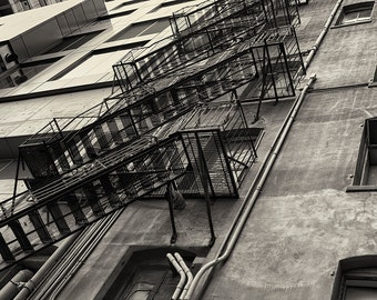 Seattle Photography, Urban, Architecture, Fire Escape, Pioneer Square, Fine Art Black and White Photography, Wall Art, Home Decor