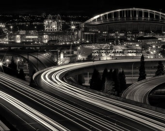 Seattle Photography, Sodo, Urban, Architecture, Fine Art Black and White Photography, Long Exposure, Wall Art, Home Decor