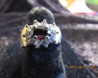 Vintage Red & Clear Rhinestone Ring