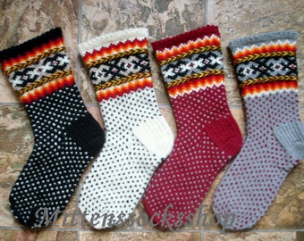Wool socks Hand knitted wool socks Patterned socks (price for 1 pair) Warm winter socks red white black gray Socks with latvian ornaments
