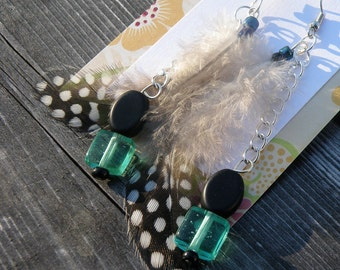 Aqua and Black Feather Earrings