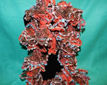 Spectra Multi colored lacy, bubbly netting ruffled Crochet Boa Scarf   ET 9091986
