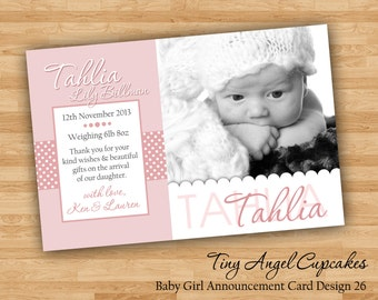 DIY Print Baby Girl Announcement Cards