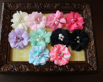 You Choose 1 Chiffon Flower Headband, Pearl and Rhinestone Center- Baby Headband, Toddler Headband, Baby Shower Gift, Photography Prop