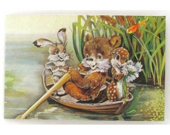 Congratulations Postcard, Hare, Bear, Unused Postcard, Illustration by Yasyukevich, Unsigned, Soviet Vintage Postcard, USSR, 1990
