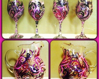 Set of 4 Hand Painted Glasses with Matching Glass Pitcher
