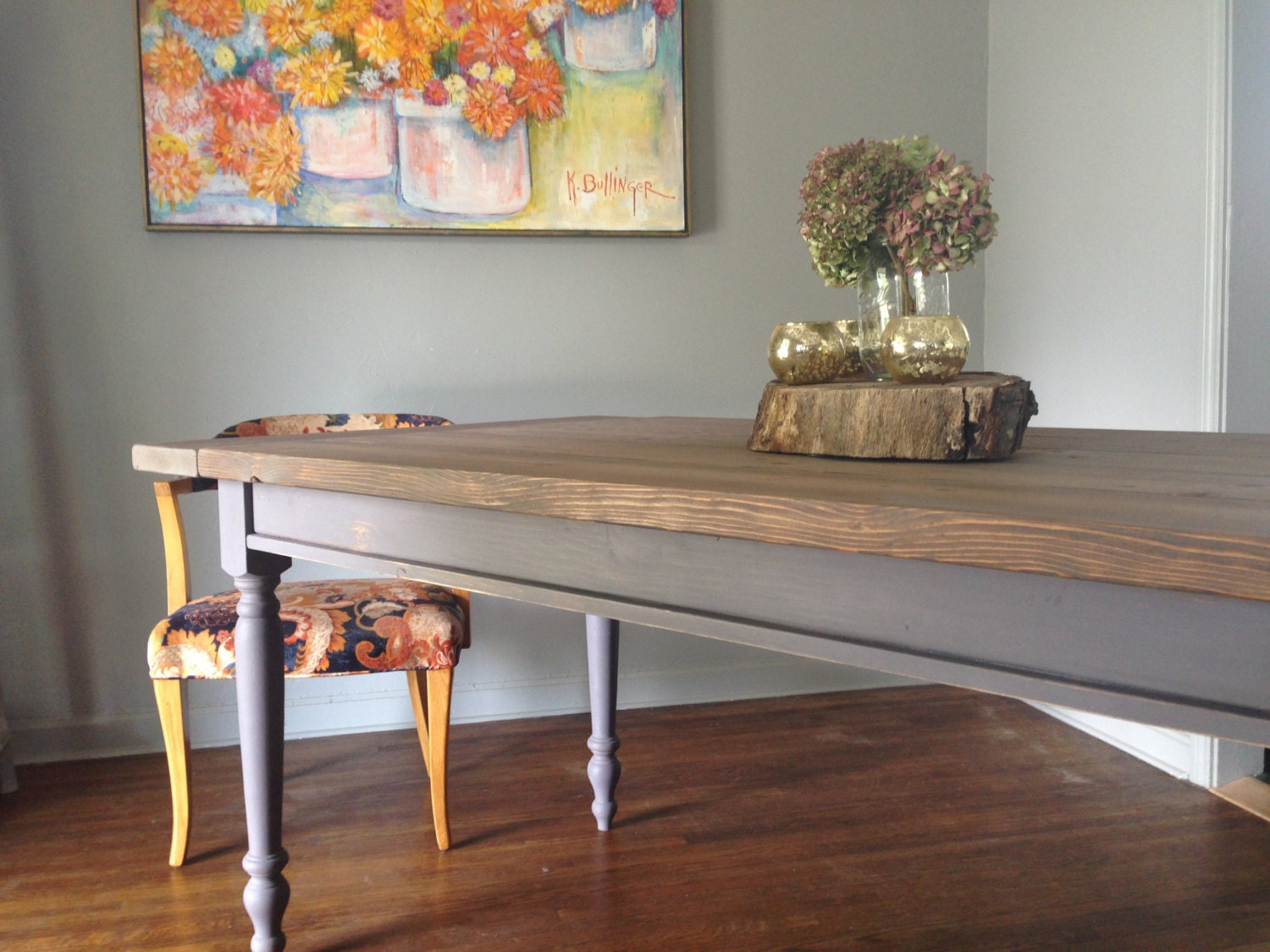 Grey Farmhouse Dining Table