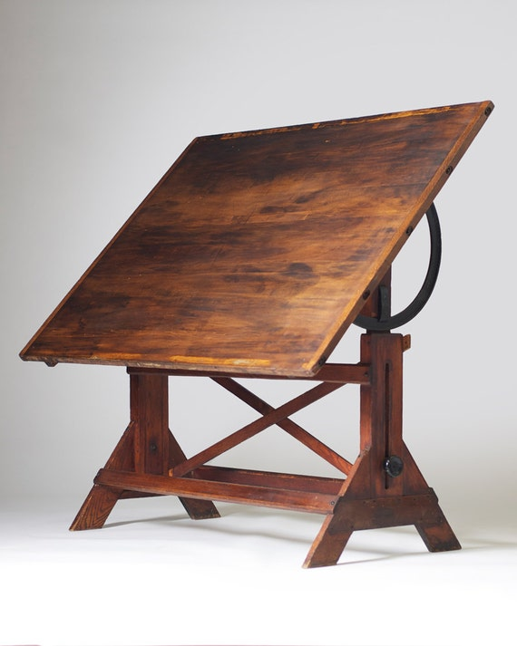 vintage wooden hamilton drafting table