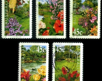 25 Used Australian Gardens Postage Stamps - 5x5 Different