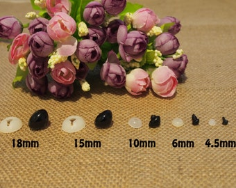 Safety Noses with Washers - size 4.5mm 6mm 10mm 15mm or 18mm - 5 sets