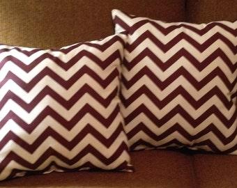 "18"" X 18"" chevron zig zag maroon pillow covers"
