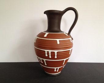Ilkra 152 / 25  Palermo  Vintage  handled  klinker vase  Mid Century Modern,  West Germany ceramic. WGP vase.