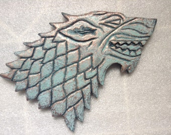 "Game of Thrones - Wall Plaque - House of Stark. Patina/Copper/Bronze - 9"" (23cm)"