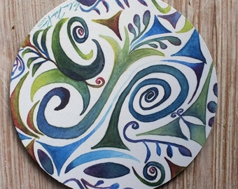 Mouse Pad mousepad Swirly Design Blue,Teal, Green Original Watercolor