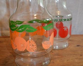 Vintage ANCHOR HOCKING Glass JUICE Pitchers. 1980's. Orange and Tomato Decals.