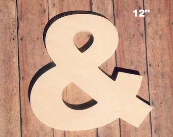 "Unfinished 12"" Decorative Wooden Letter / Ampersand 12 Inch Symbol / Nursery Wall Craft / Alphabet Photo Prop / Baltic Birch Wood"