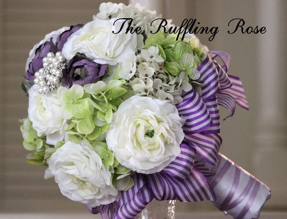 Silk wedding bouquet white, purple and green, hydrangea and roses, brooch ...bride, bridesmaid...may be custom made in your bridal colors.