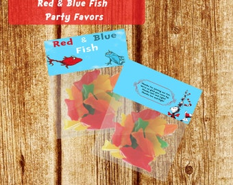 Dr. Seuss Red and Blue Fish Party Favor Bag Toppers