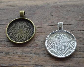 Pendant Tray / Bezel. 25mm Dia. PACK 10. Pendant Blanks. Antique Bronze/Silver. Glass Dome Tray. Jewellery Making Supplies. Sydney Australia