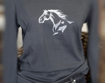 Oragnic Cotton longsleeve tshirt from Cedarhorse Moon. Featuring artistic Horse motif.
