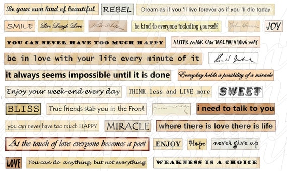Digital collage sheet, Digital Phrase quotes Collage Sheet Instant ...