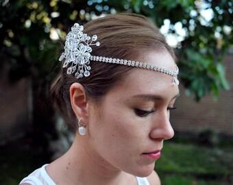 Stunning Clear Crystal + Rhinestones Headchain, Bridal Hairpiece, Wedding headchain