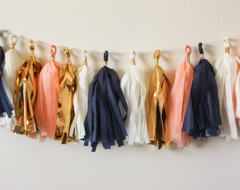 Coastal Peach Tissue Tassel Garland (15)