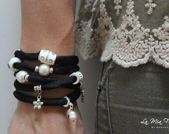 Black Wrap-Around  Fashion Bracelet   Metal Charms