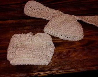 Bunny Hat & Diaper Cover Set