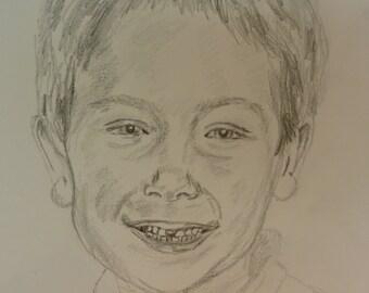 Custom pencil drawing of a happy boy aged 5