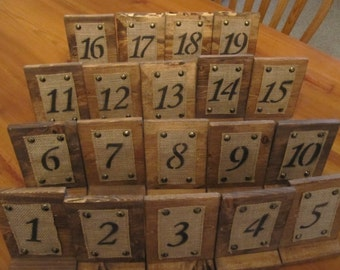 19 Rustic Wood and Burlap Table Numbers