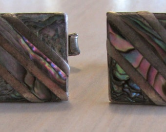 Vintage Sterling Silver and Abalone Shell Cuff Links