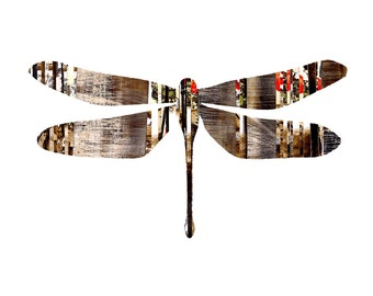 Brave Dragonfly / Collette, Modern Dragonfly Print, Rustic Dragonfly Print, Dragonfly Wall Art
