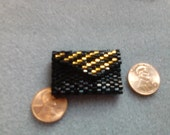 Doll Purse, miniature purse, seed bead hexagonal, black and gold, doll collectors