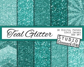 Teal Glitter Digital Paper - Turquoise Sparkle Chunky Glitter Chevron - Teal Metallic Shine - 10 Papers - 12in x 12in - Instant Download