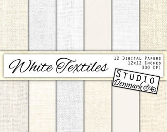 White Textiles Linen / Canvas / Burlap Digital Paper - 10 White Textures - Commercial Use - 12in x 12in 300 dpi jpg - Instant Download
