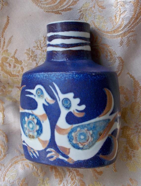 Vintage Home Decor Blue Bird Pillow Vase Royal By